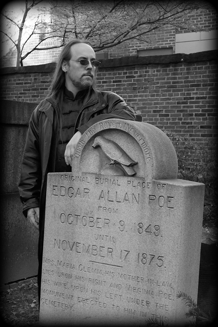 Michael Vain at Poe's tomb